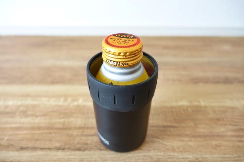 260ml缶を350ml用サーモス保冷缶ホルダーに入れた