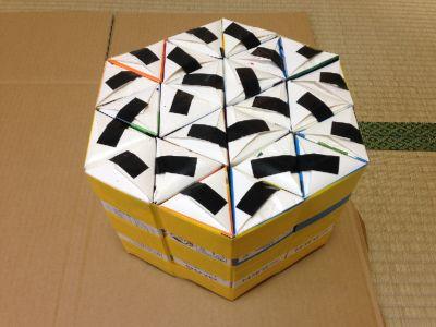 六角形の牛乳パック椅子の作り方手順27